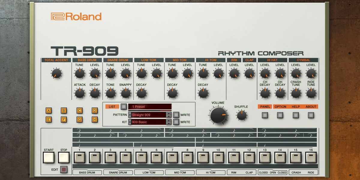 Roland TR-909 Software Rhythm Composer